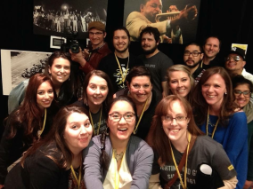 Emma, far left and third up, in a group selfie with her Amnesty International peeps.