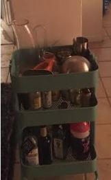 My beloved bar cart.