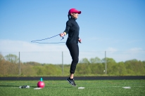 Start your workout with jumping rope to elevate heart rate and kick up the circulatory system.